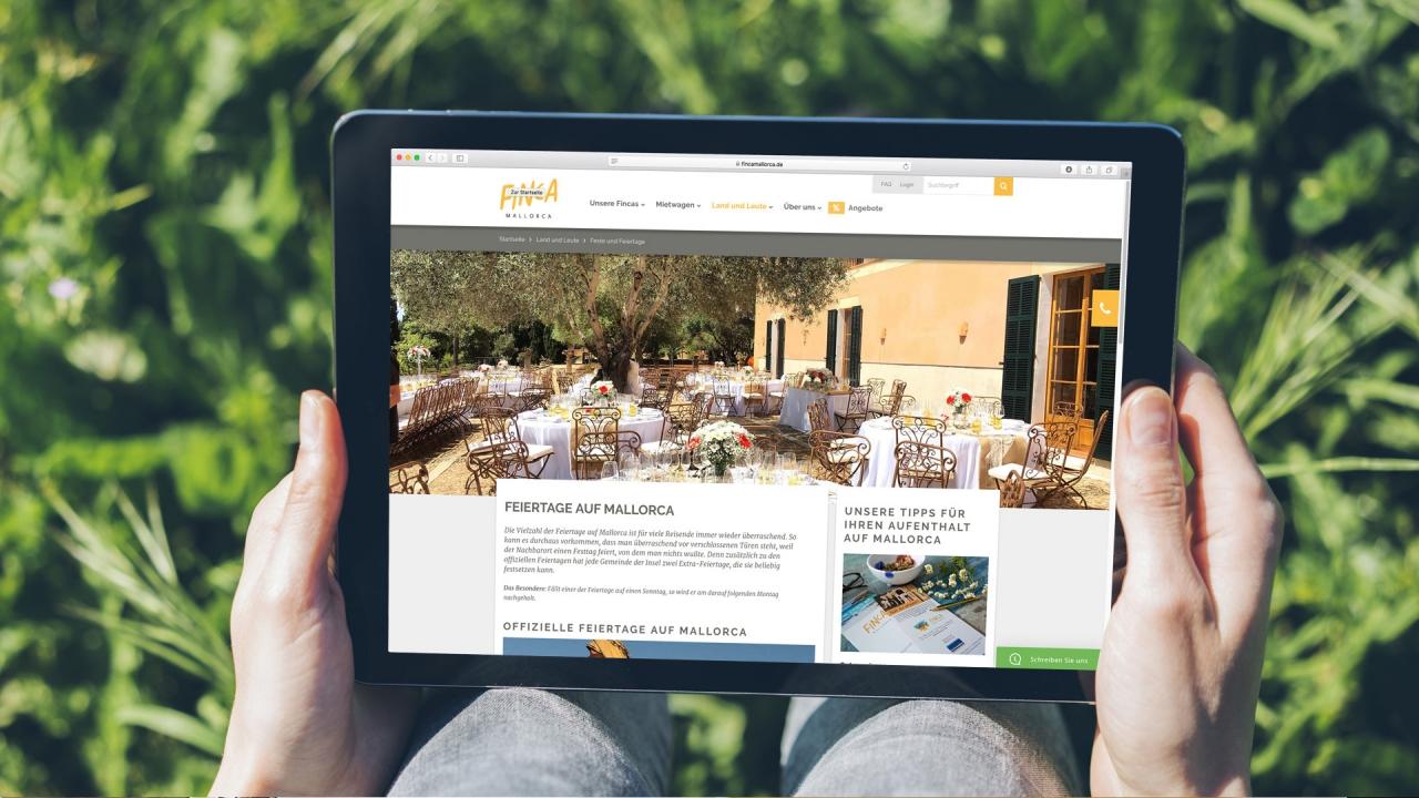 Finca Mallorca Website Land und Leute