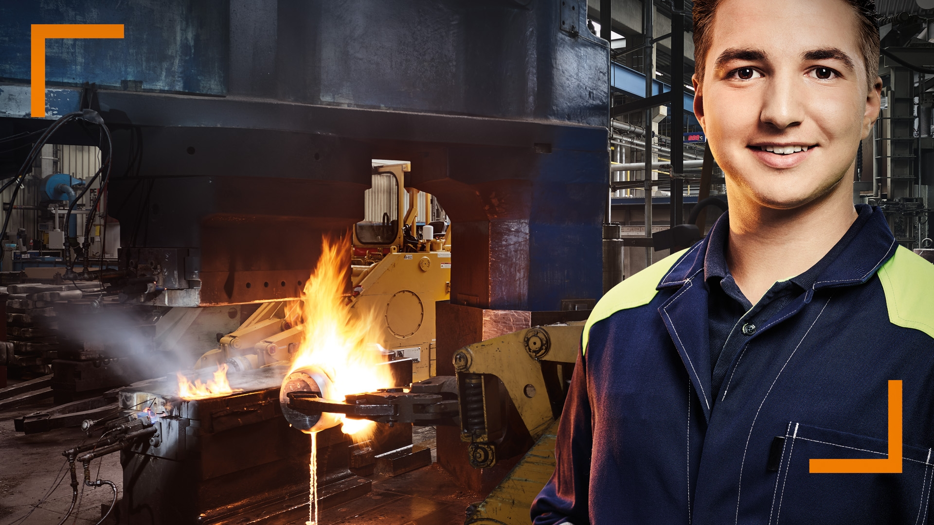 OTTO FUCHS Recruiting Campaign: Male trainee in front of burning furnace