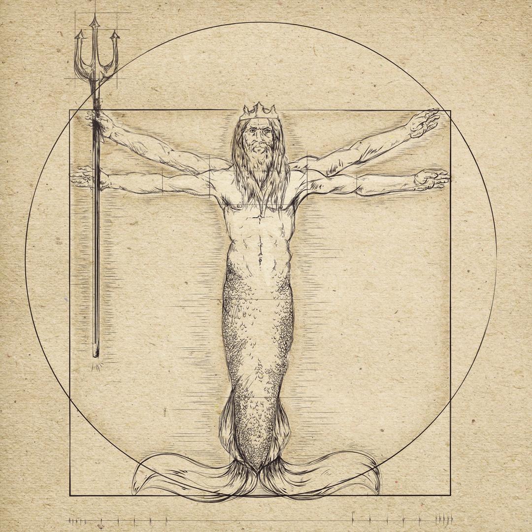 "Da Vinci Adaptation ""Der vitruvianische Wassermann"" / ""Vitruvian Merman"""