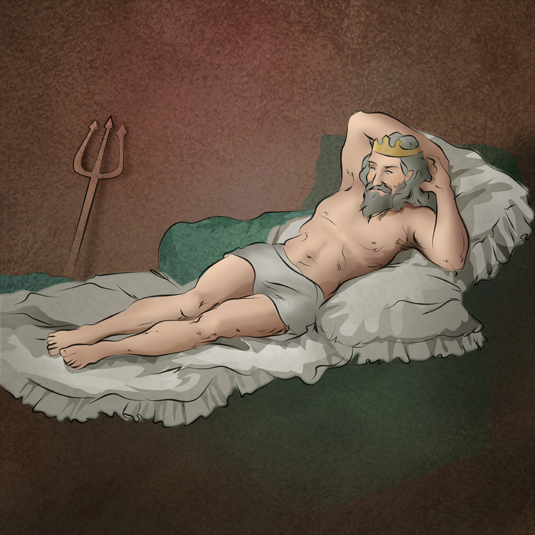 "Goya Adaptation ""Der fast nackte Wassermann"" / ""The almost nude merman"""