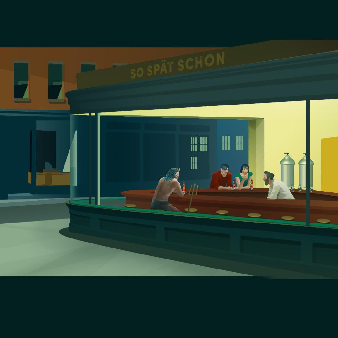 "Edward Hopper Adaptation ""Wassermann bei Nacht"" / ""Merman at night"""