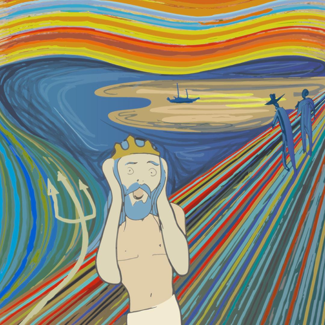 """Adaption von Munchs """"Schrei"""" mit Wassermann / Adaptation of Munch's """"the scream"""" with a merman"""